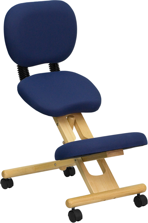 Mobile Wooden Ergonomic Kneeling Posture Chair in Navy Blue Fabric with Reclining Back EH-WL-SB-310-GG