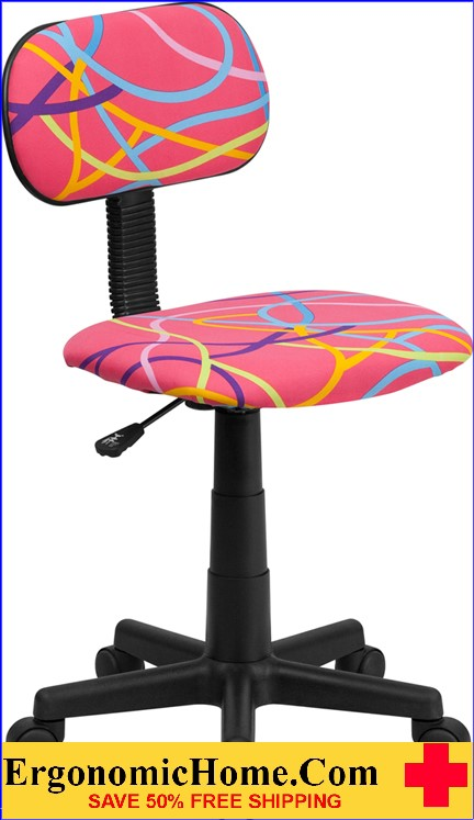Ergonomic Home Multi-Colored Swirl Printed Pink Swivel Task Chair <b><font color=green>50% Off Read More Below...</font></b>