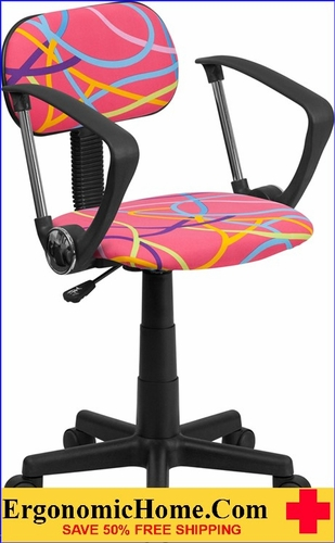 Ergonomic Home Multi-Colored Swirl Printed Pink Swivel Task Chair with Arms <b><font color=green>50% Off Read More Below...</font></b>