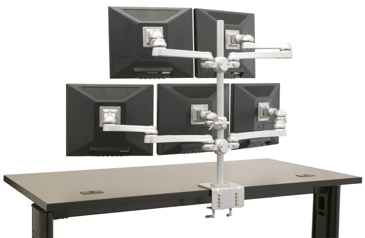 Multiple Monitor Stand #EHMTR-5X. Mounts 5 each LCD flat panel monitors on one pole 27� high. Read More Below...