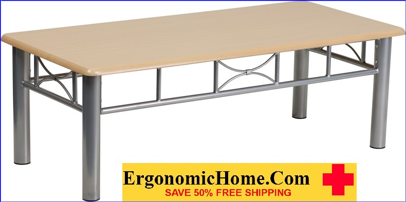 Ergonomic Home Natural Laminate Coffee Table with Silver Steel Frame <b><font color=green>50% Off Read More Below...</font></b></font></b>