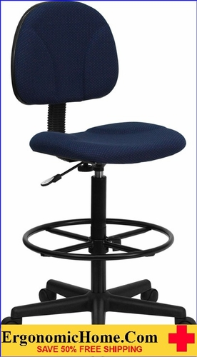 Ergonomic Home Navy Blue Patterned Fabric Drafting Chair (Adjustable Range 22.5''-27''H or 26''-30.5''H) EH-BT-659-NVY-GG .