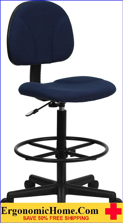 Ergonomic Home Navy Blue Patterned Fabric Drafting Chair (Adjustable Range 22.5''-27''H or 26''-30.5''H) EH-BT-659-NVY-GG <b><font color=green>50% Off Read More Below...</font></b>