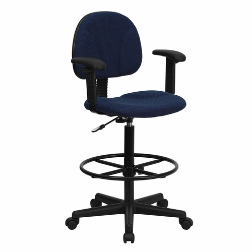 Ergonomic Home Navy Blue Patterned Fabric Drafting Chair with Height Adjustable Arms (Adjustable Range 22.5''-27''H or 26''-30.5''H) EH-BT-659-NVY-ARMS-GG .