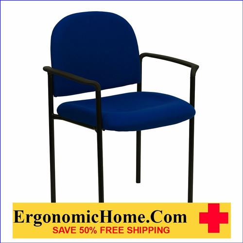 Ergonomic Home Navy Fabric Comfortable Stackable Steel Side Chair with Arms EH-BT-516-1-NVY-GG <b><font color=green>50% Off Read More Below...</font></b></font></b>