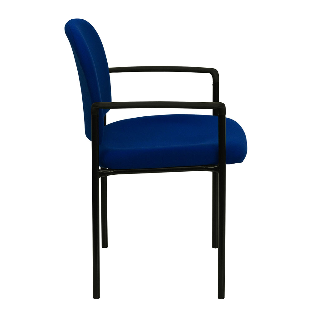 Navy fabric comfortable stackable steel side chair with arms for Comfortable chairs