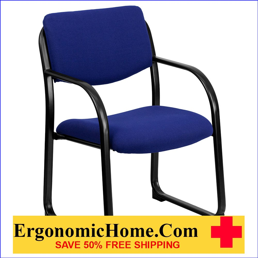 Ergonomic Home Navy Fabric Executive Side Chair with Sled Base EH-BT-508-NVY-GG .