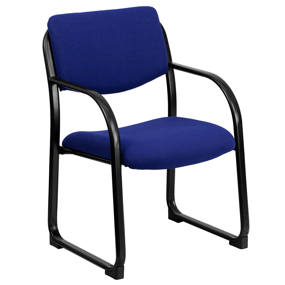 Navy Fabric Executive Side Chair with Sled Base