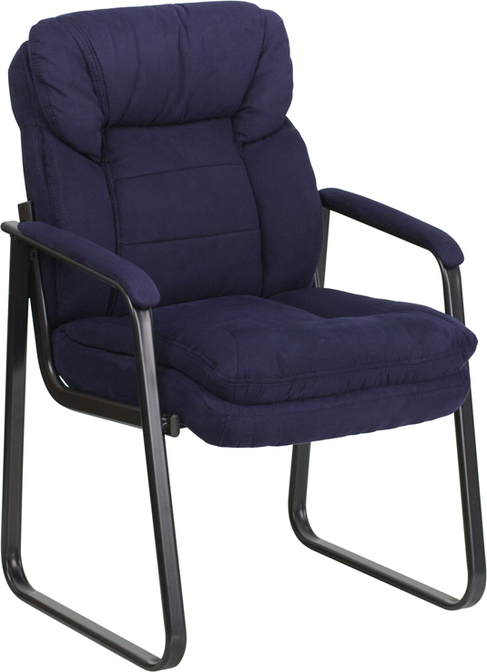 <font color=#c60>Save 50% w/Free Shipping!</font> Navy Microfiber Executive Side Chair with Sled Base GO-1156-NVY-GG <font color=#c60>Read More ... </font>