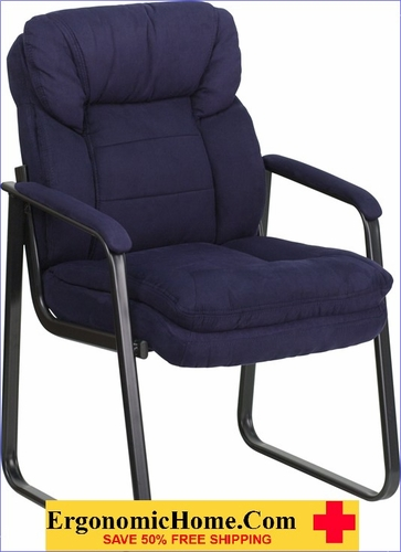Ergonomic Home Navy Microfiber Executive Side Chair with Sled Base EH-GO-1156-NVY-GG <b><font color=green>50% Off Read More Below...</font></b>