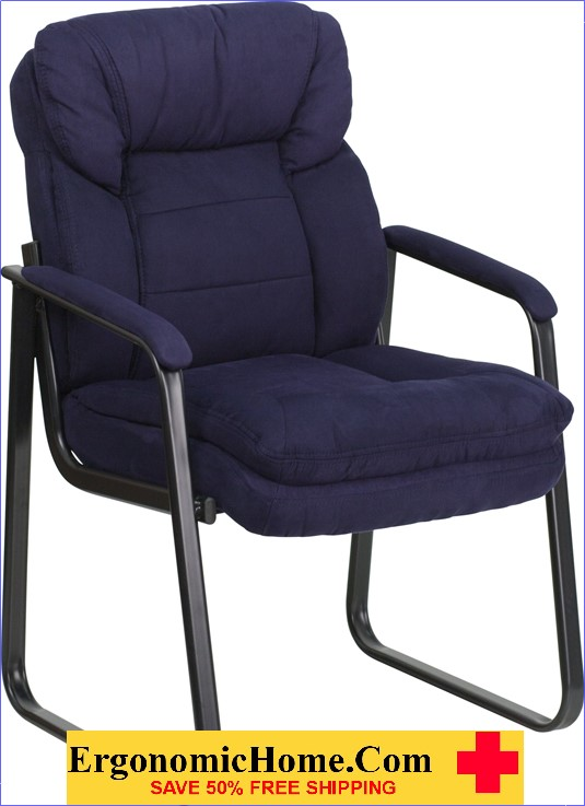 Ergonomic Home Navy Microfiber Executive Side Chair with Sled Base EH-GO-1156-NVY-GG .