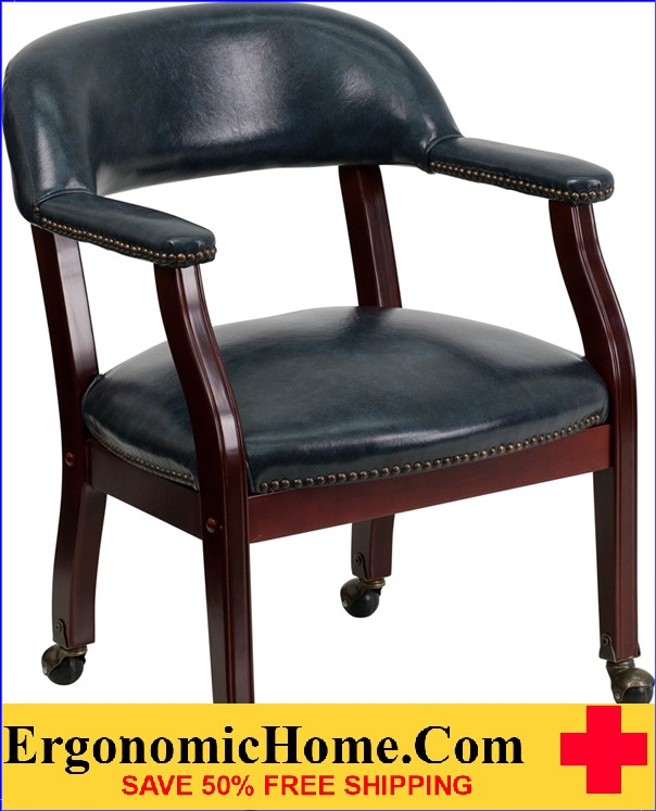 Ergonomic Home Navy Vinyl Luxurious Conference Chair with Casters .
