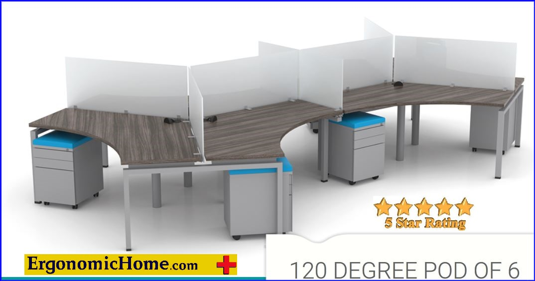 ERGONOMIC HOME FIXED HEIGHT MODULAR CONTROL ROOM WORKSTATIONS. 120 DEGREE POD OF 6.  FREE SHIPPING 5-7 BIZ DAYS+ASSEMBLY INCLUDED! <font color=#c60>READ MORE...</font>