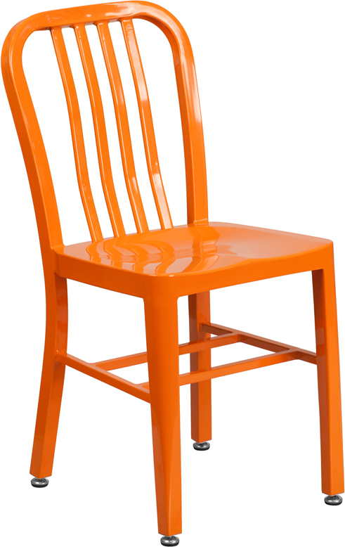 ERGONOMIC HOME Orange Metal Indoor-Outdoor Chair