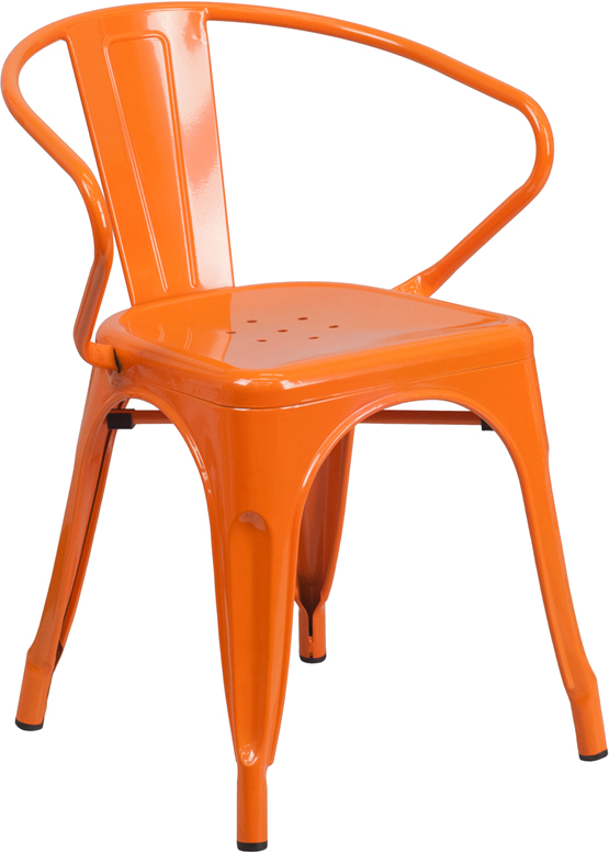 ERGONOMIC HOME Orange Metal Indoor-Outdoor Chair with Arms