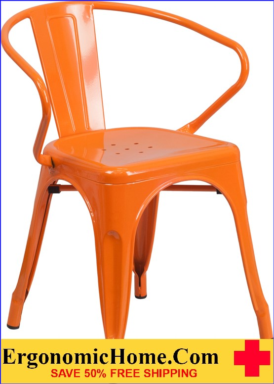 ERGONOMIC HOME Orange Metal Indoor-Outdoor Chair with Arms  | <b><font color=green>50% Off Read More Below...</font></b>