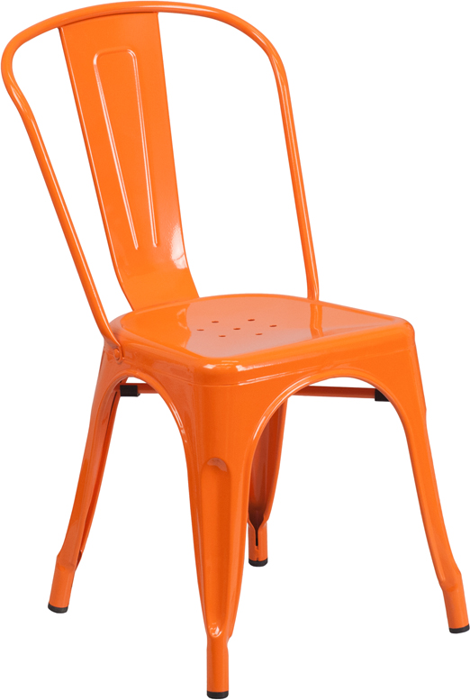 ERGONOMIC HOME Orange Metal Indoor-Outdoor Stackable Chair