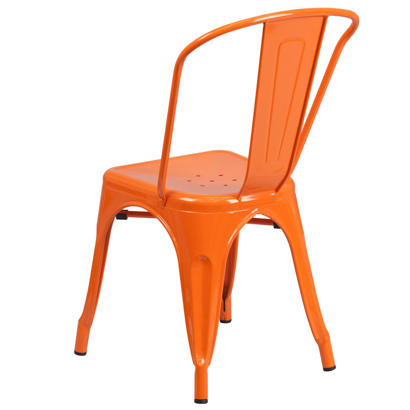 Incroyable ERGONOMIC HOME Orange Metal Indoor Outdoor Stackable Chair | 50% Off Read  More Below.