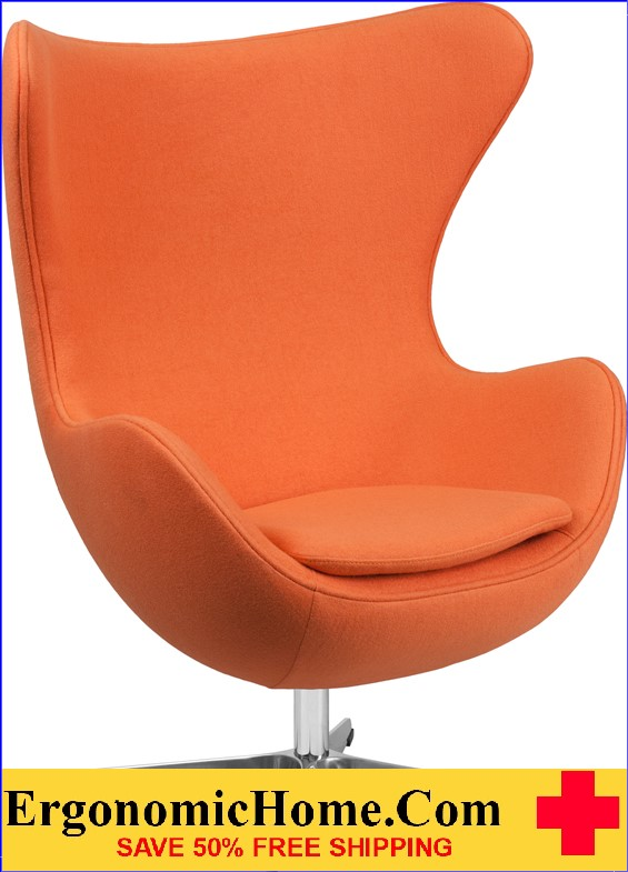 Ergonomic Home Orange Wool Fabric Egg Chair with Tilt-Lock Mechanism <b><font color=green>50% Off Read More Below...</font></b></font></b>