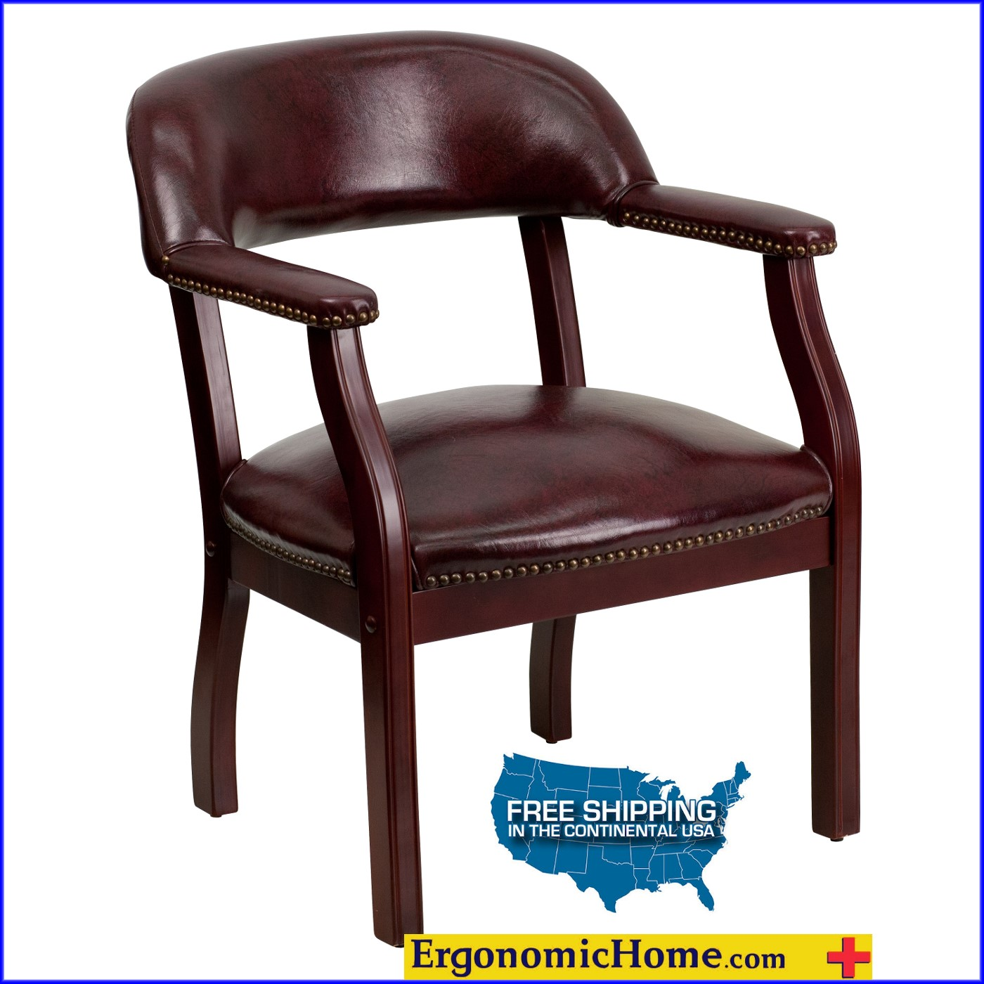 Ergonomic Home Oxblood Vinyl Luxurious Conference Chair/Guest Chair EH-B-Z105-OXBLOOD-GG .