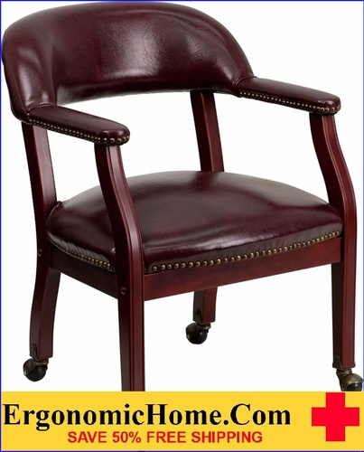 Ergonomic Home Oxblood Vinyl Luxurious Conference Chair with Casters <b><font color=green>50% Off Read More Below...</font></b></font></b>