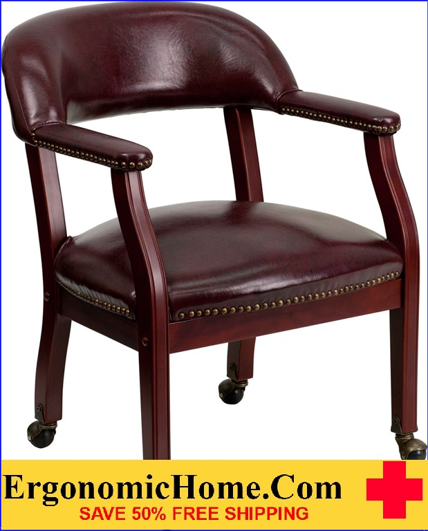 Ergonomic Home Oxblood Vinyl Luxurious Conference Chair with Casters .