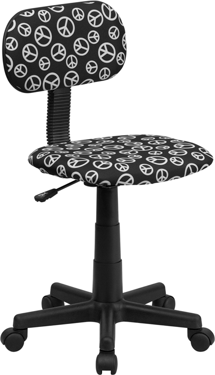 Peace Sign Printed Swivel Task Chair