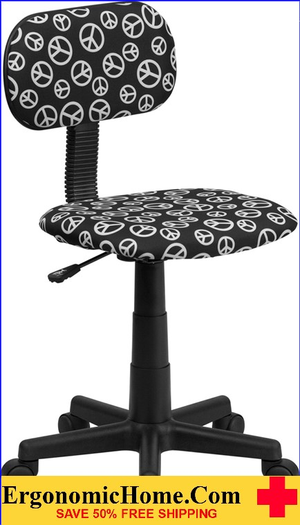 Ergonomic Home Peace Sign Printed Swivel Task Chair .