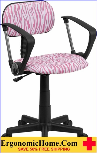 Ergonomic Home Pink and White Zebra Print Swivel Task Chair with Arms .