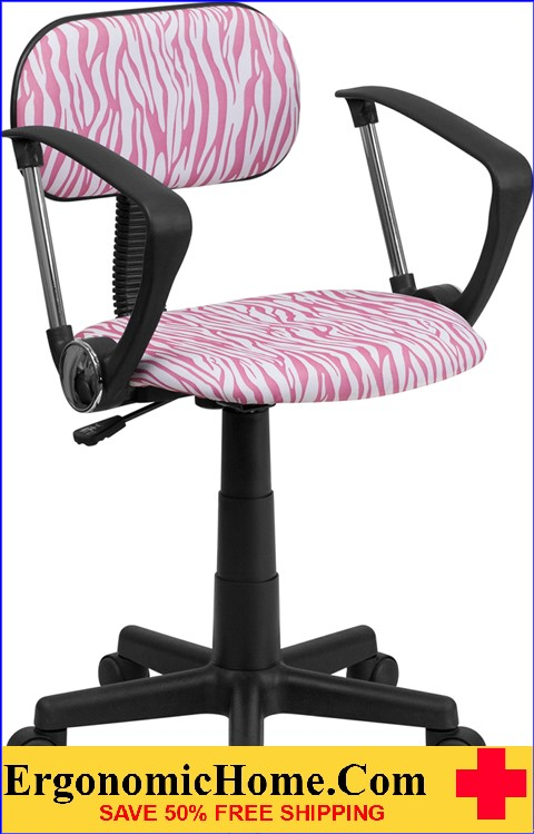 Ergonomic Home Pink and White Zebra Print Swivel Task Chair with Arms <b><font color=green>50% Off Read More Below...</font></b>