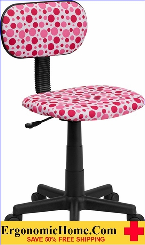 Ergonomic Home Pink Dot Printed Swivel Task Chair <b><font color=green>50% Off Read More Below...</font></b></font></b>