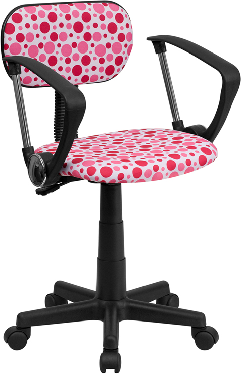 Pink Dot Printed Swivel Task Chair with Arms