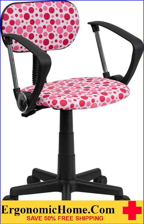 Ergonomic Home Pink Dot Printed Swivel Task Chair with Arms <b><font color=green>50% Off Read More Below...</font></b>
