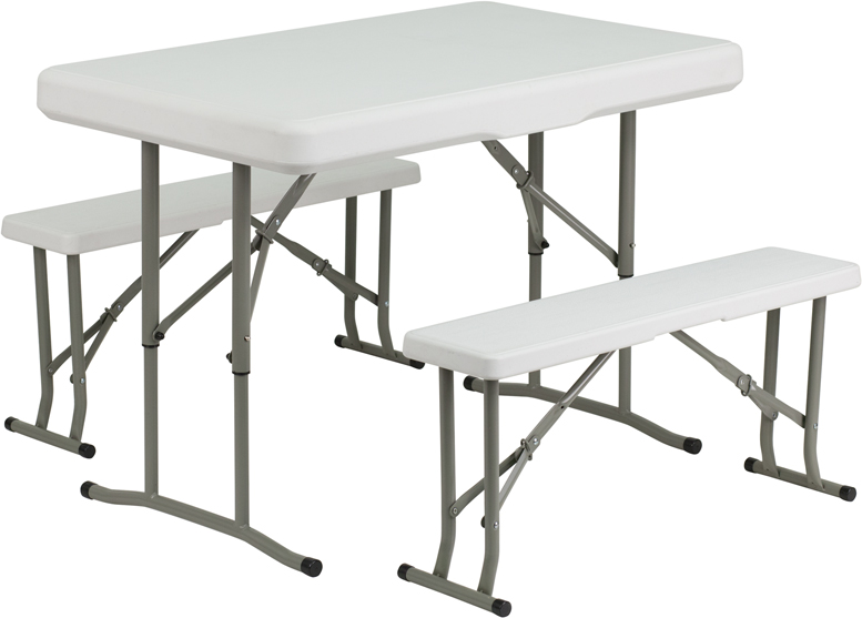 ERGONOMIC HOME Plastic Folding Table and Benches