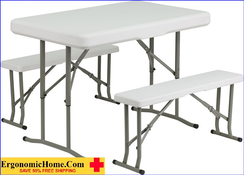 ERGONOMIC HOME Plastic Folding Table and Benches <b><font color=green>50% Off Read More Below...</font></b>
