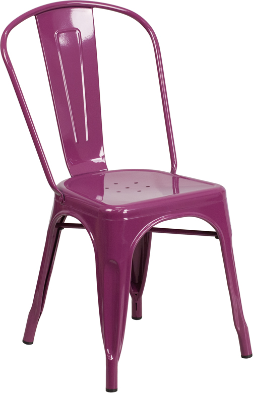 ERGONOMIC HOME Purple Metal Indoor-Outdoor Stackable Chair
