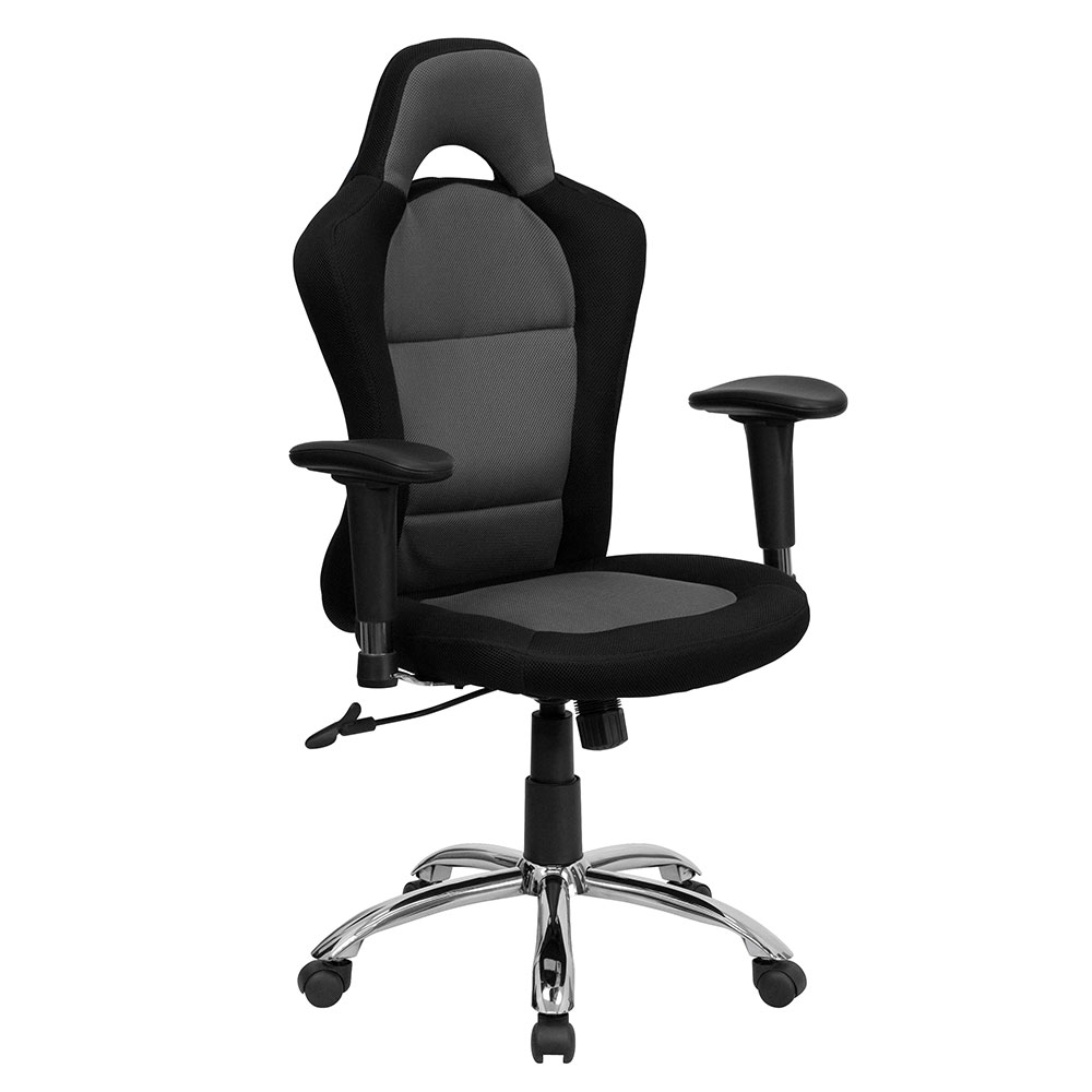 ERGONOMIC HOME Race Car Inspired Bucket Seat Swivel Task Chair in Gray & Black Mesh EH-BT-9015-GYBK-GG <b><font color=green>50% Off Read More Below...</font></b>
