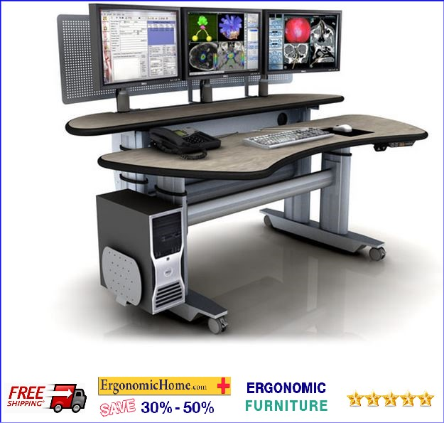 "Ergonomic Home Adjustable Radiology Table Desk W/Dual Surfaces #ERGOPACSMT6-BL-E-L3. Dimensions: 72"" x 45""."