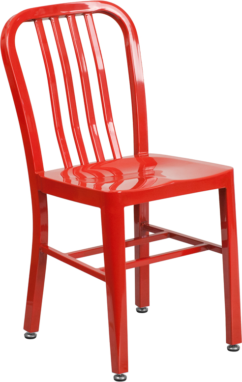 ERGONOMIC HOME Red Metal Indoor-Outdoor Chair