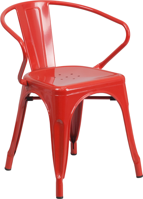 ERGONOMIC HOME Red Metal Indoor-Outdoor Chair with Arms