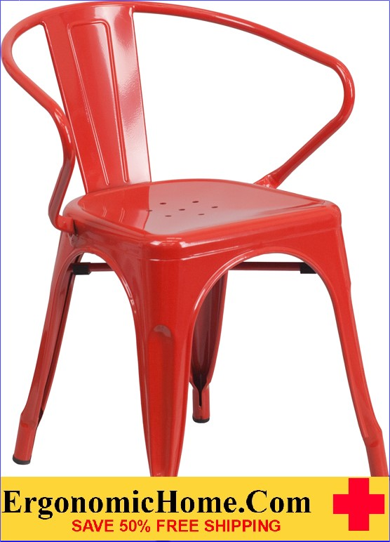 ERGONOMIC HOME Red Metal Indoor-Outdoor Chair with Arms  | <b><font color=green>50% Off Read More Below...</font></b>