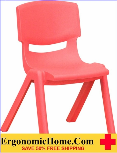 Ergonomic Home Red Plastic Stackable School Chair with 12'' Seat Height EH-YU-YCX-001-RED-GG <b><font color=green>50% Off Read More Below...</font></b>