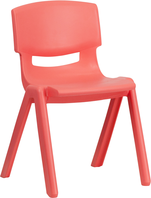 Red Plastic Stackable School Chair with 13.25'' Seat Height