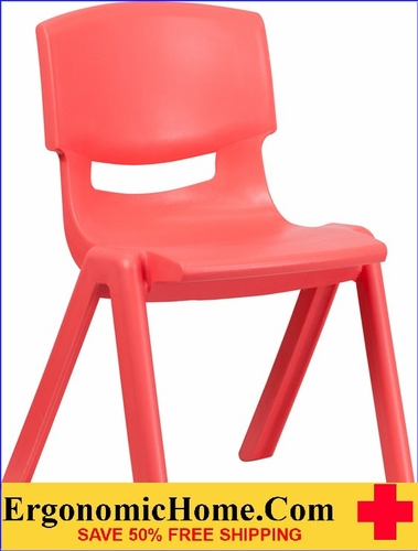 Ergonomic Home Red Plastic Stackable School Chair with 15.5'' Seat Height EH-YU-YCX-005-RED-GG <b><font color=green>50% Off Read More Below...</font></b>