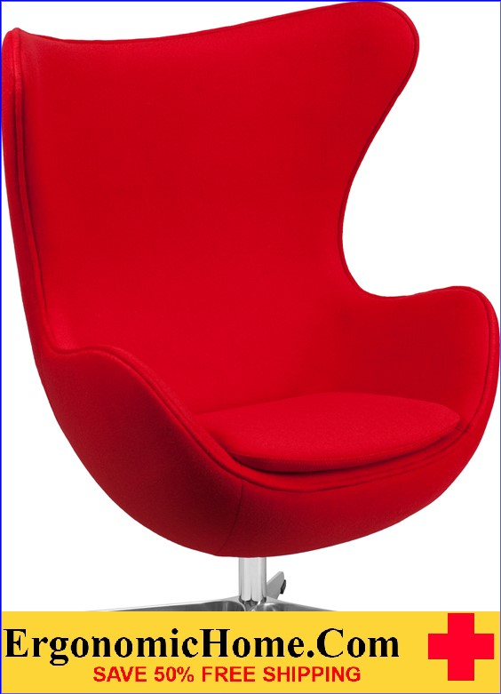 Ergonomic Home Red Wool Fabric Egg Chair with Tilt-Lock Mechanism <b><font color=green>50% Off Read More Below...</font></b></font></b>