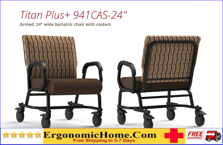 COMFORTEK TITAN BARIATRIC CHAIR W/CASTERS #941-24. FRAME RATING 600 LBS! READ MORE BELOW!.