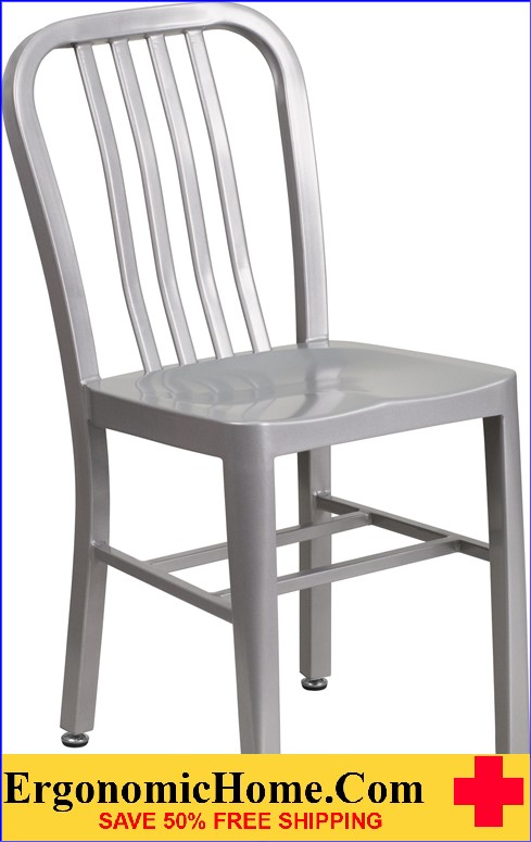 ERGONOMIC HOME Silver Metal Indoor-Outdoor Chair  | <b><font color=green>50% Off Read More Below...</font></b>