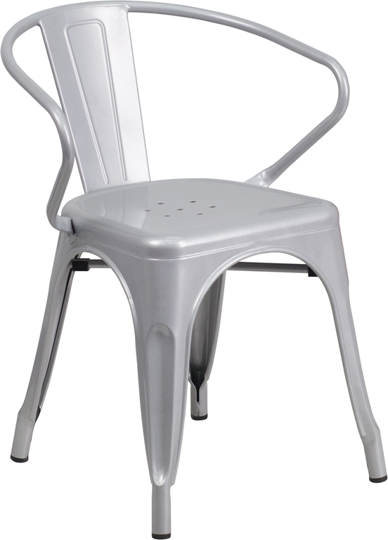 ERGONOMIC HOME Silver Metal Indoor-Outdoor Chair with Arms