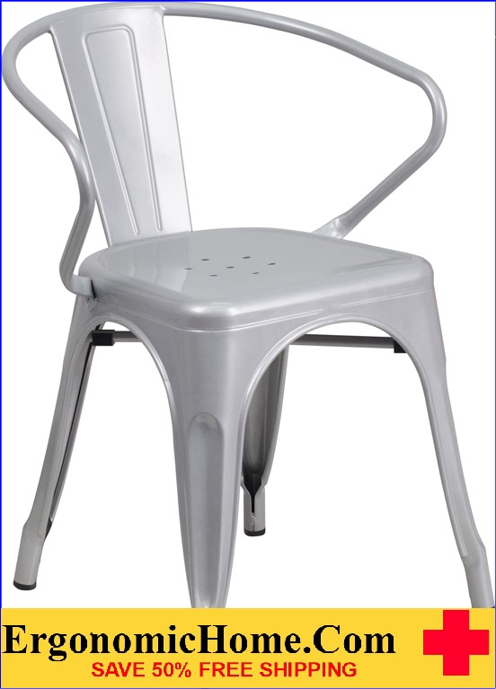 ERGONOMIC HOME Silver Metal Indoor-Outdoor Chair with Arms  | <b><font color=green>50% Off Read More Below...</font></b>
