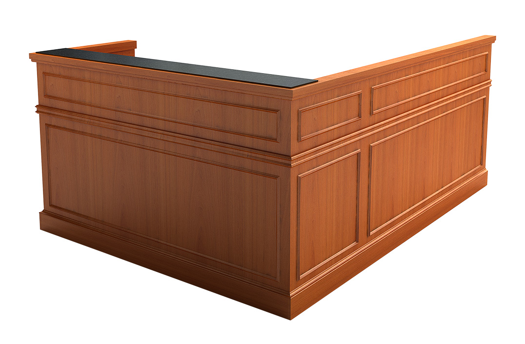 SOMERSET TRADITIONAL RECEPTION DESK: Marble inlay on counter, wood cap on chassis, fluted columns, chair rail molding, fabric tack-board, and mitered picture frame molding. Read More.